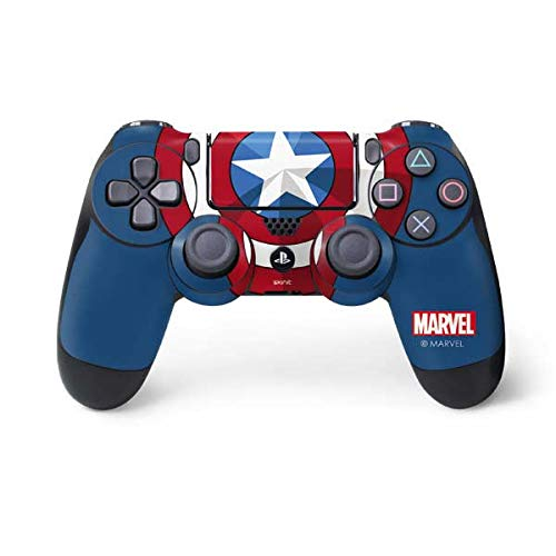 Skinit Decal Gaming Skin for PS4 Controller - Officially Licensed Marvel/Disney Captain America Emblem Design
