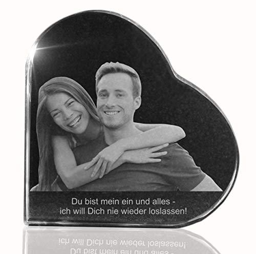 VIP-LASER 2D Gravur Glasherz XL mit Deinem Partnerfoto von Deinem Freund oder Freundin. Dein Wunschfoto für die Ewigkeit Mitten in Glas! Groesse XL = 80x80x19mm