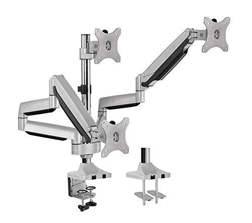 "AVLT Triple 13""-32"" Monitor Arm Desk Mount fits Three Flat/Curved Monitor Full Motion Height Swivel Tilt Rotation Adjustable Monitor Arm - VESA/C-Clamp/Grommet/Cable Management"