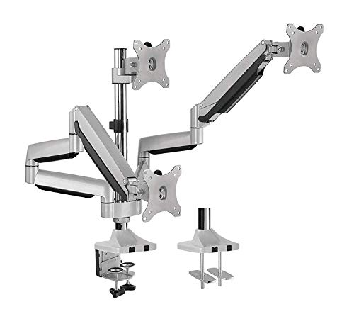 AVLT Triple 13'-32' Monitor Arm Desk Mount fits Three Flat/Curved Monitor Full Motion Height Swivel Tilt Rotation Adjustable Monitor Arm - VESA/C-Clamp/Grommet/Cable Management