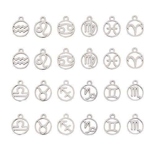 UNICRAFTALE 24pcs Zodiac Signs Charms 12 Constellations Pendants Flat Round Stainless Steel Charm Pendants Jewelry Findings for Necklace Jewelry Making, 1.5mm Hole