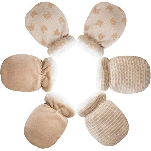 3 Pares de Manoplas de Bebé-Guantes Calientes Mitones de Invierno de Bebés Niños Niñas Manoplas del Interior de Lana de Recién Nacido Infantil para 0-12 Meses