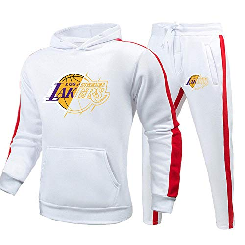 BAIDEFENG Herren Frühling Herbst Hoodie Set Kleidung Lakers Fitnessstudio Jogginghosen Casual Jogger Sport Sweatsuit Herren Trainingsanzug Set mit Taschen-XXX-groß