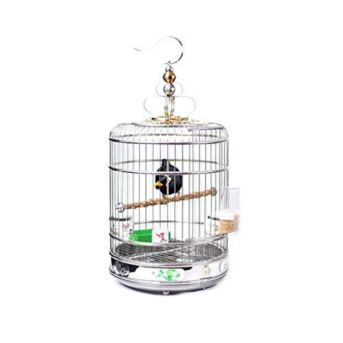 Cages à Oiseaux Budgies, Grande Cage à Oiseaux Ronde en Acier Inoxydable Bold (Taille : 38CM)