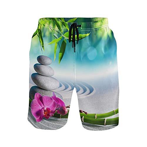 Troncos de natación para Hombre Pantalones Cortos de Playa de Secado rápido con Flores de bambú Zen japonesas Pantalones Cortos de Surf de Verano (Talla M)