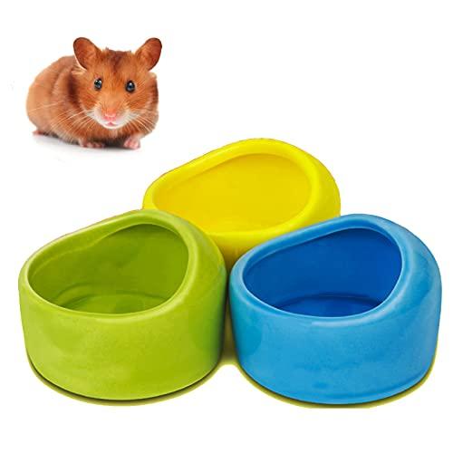 3 Stück Ceramic Hamster Bowl Kleintierfutterschale Keramik Futternäpfe für Hamster Anti-Biss Keramik Futterschalen Hamster Näpfe Kleintiere Keramik Futterschale Nagetier Fütterung Zubehör (Weiß)
