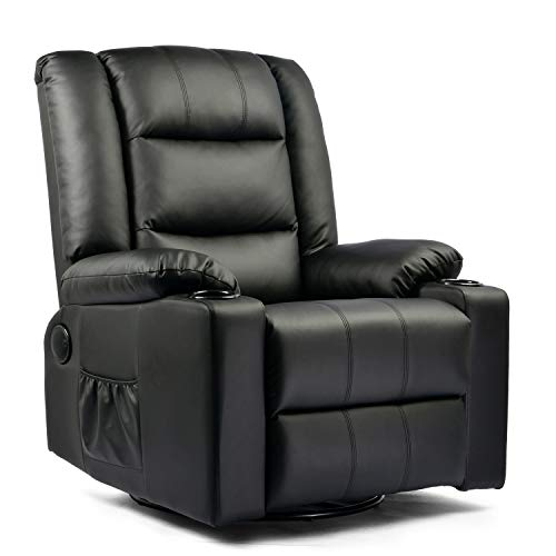 ComHoma Massage Recliner Chair PU Leather Home Theater Recliner Chair with Heat Rocker Recliner with Heated Massage Ergonomic Lounge Swivel/Cup Holder/Remote Control for Living Room (Black)