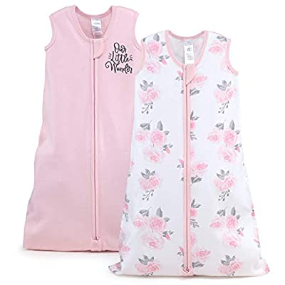 The Peanutshell Wearable Blanket Sleep Sack for Baby Girls, Solid & Pink Floral, Sizes up to 12 Months (Small/Medium)