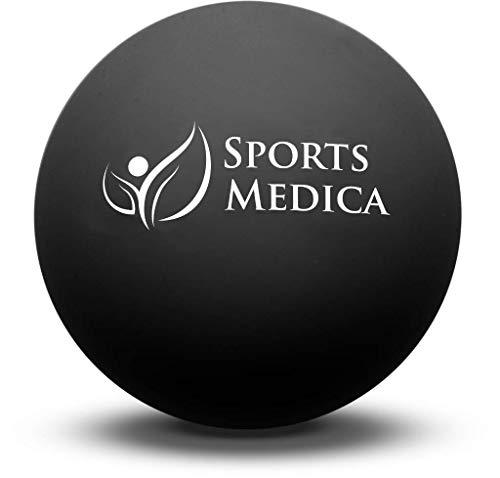 Sports Medica Pelota Fitness de Lacrosse Negra Terapia de Masaje de Puntos Gatillo, Lesiones y Recuperación - Incluye Serie DE VÍDEOS Y Manual GRATUITOS