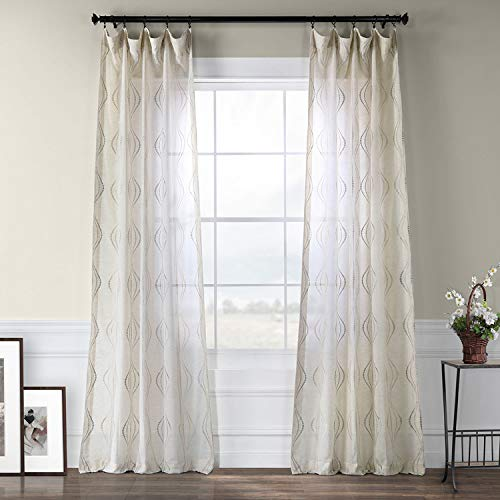 HPD Half Price Drapes SHCH-SLWE5294-120 Embroidered Faux Linen Sheer Curtain (1 Panel), 50 X 120, Suez Natural