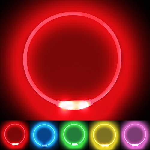 LMLMD Leuchthalsband Hund, LED Hundehalsband USB Wiederaufladbar, Glowing Pet Hundehalsband fur Nachtsicherheit, Fashion Light Up Hundehalsband für Kleine Mittelgroße Große Hunde Rot