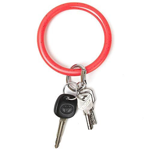 Townshine Armreif, Schlüsselanhänger, Handgelenk, Schlüsselanhänger, Armband, rund, Silikon, für Damen und Mädchen - Rot - Large