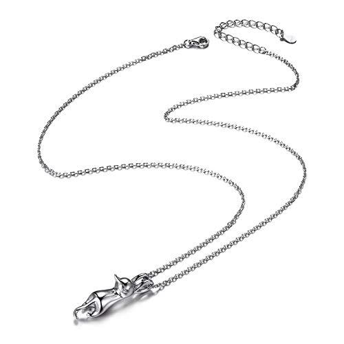 Collar con colgante de gato de plata de ley 925 para mujer