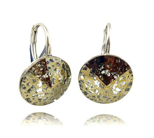 Crystals & Stones * Gold Patina * * * Rivoli * 14 mm - Bonitos pendientes para mujer con cristales de Swarovski Elements - Maravillosos pendientes con caja de regalo