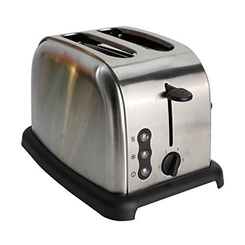 CHQY Tostadora, Acero Inoxidable Amplio tragamonedas Tostadora, 2 rebanadas Máquina de Desayuno Retro compacta, con Funciones de descongelación de recalentamiento emergen Silver