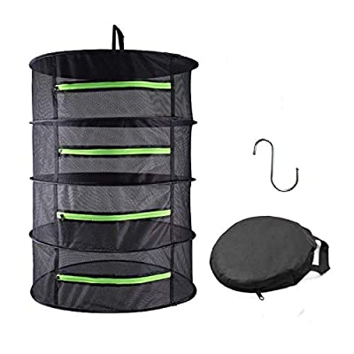 HYDGOOHO Herb Drying Rack Net Dryer 4 Layer 2ft Black W/Green Zippers Hydroponics