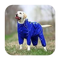 ペット犬レインコート反射防水ジッパー服ハイネックフード付きジャンプスーツ小さな大きな犬のオーバーオールレインマントラブラドール-Blue-22