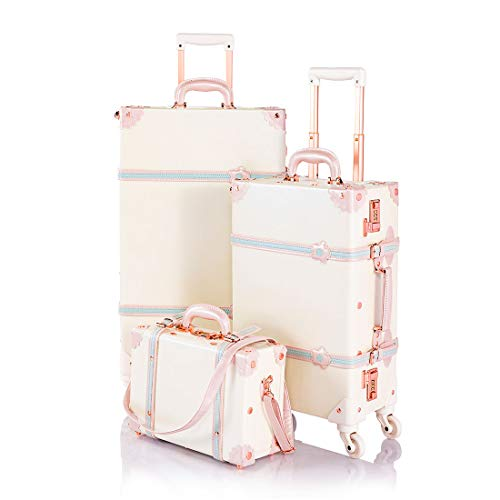 COTRUNKAGE Girls Cute 3 Piece Luggage Set Vintage Carry On Suitcase for Women, Cream White