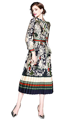 "LAI&MENG Damen Elegant 3/4 à""rmel Midikleid mit Blumenmuster Sommer Kleid Swing Casual A-Linie Party Kleid, Style 5, 38"