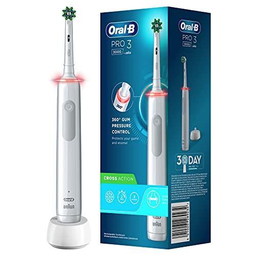 Oral-B PRO 3000 Brosse à Dents Électrique Rechargeable avec 1 Manche Capteur de Pression et 1 Brossette CrossAction, Technologie 3D, Élimine jusqu'à 100 % de plaque dentaire