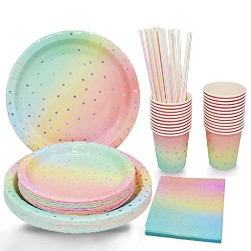 Sliver Dot Disposable Paper Party Plates Set 25 Dinner Plates, 25 Dessert Plates, 25 Cups, 25 Napkins, 25 Straws Dinnerware Set for Birthday Baby Shower Wedding Rainbow Party - Serves 25
