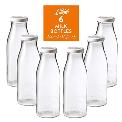 Le Parfait Milk Bottles - 500ml French Glass Preserving Bottles w/ 48mm Printed Logo Metal Twist Cap, 16oz/Pint (Pack of 6)