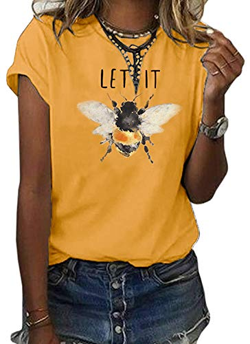 Womens Let It Bee Graphic Tees O Neck Cute Printed Summer Casual T Shirts Tops …