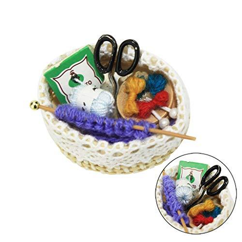 ToDIDAF Puppenhaus Zubehör Mini-Strickwerkzeuge Szenenmodell 1:12 Puppenhaus Miniatur Wohnmöbel, Lernspielzeug für Kinder, Für das Wohnzimmer Garten Dekoration 43x34x18mm