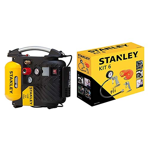 Stanley DN200/10/5 AIRBOSS - Compressore + Set ad aria compressa Kit 6 Pneumatic