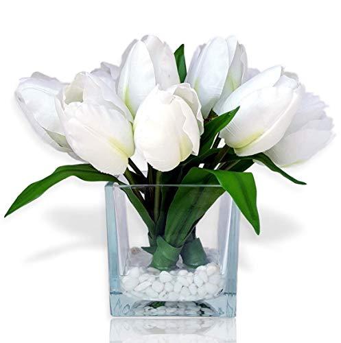 Basik Nature Artificial Flowers Tulip Floral Arrangement in Vase - Fake Flowers Silk Tulips Centerpiece - Modern Artificial Silk Flowers for Decoration (White)