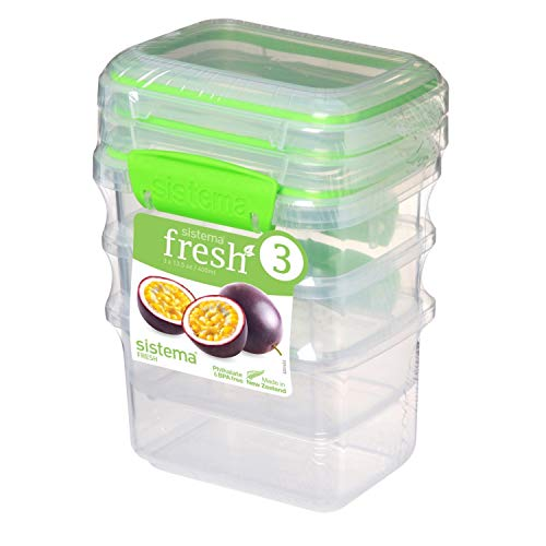 Sistema 951543 Fresh Collection Food Storage Containers 3 Pack, Clear/Lime Green