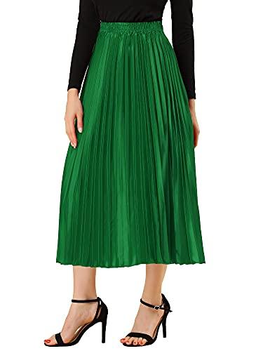 Allegra K Falda Midi Metálica Plisada Acordeón Cintura Alta para Mujer Verde M