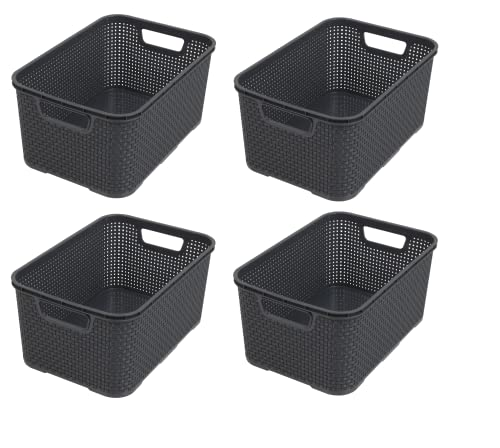 BranQ - Home essential Kunststoff Korb in Rattan Design 4er Set Grösse S 7l, Anthrazit, 4