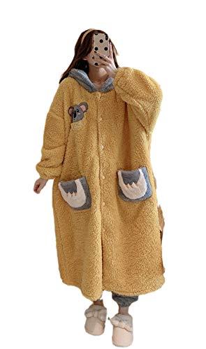 Albornoz Mujer Invierno,Caliente Pijama Bata Baño,Thicken Plus Albornoz de Terciopelo, camisón Largo Servicio a Domicilio-Yellow_L