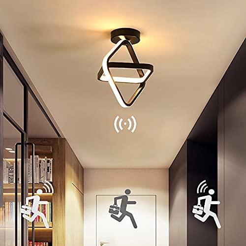 Moderna Lámpara de Techo con Sensor de Movimiento LED Blanco Cálido 3000K Plafón Cuadrado 22W 1980LM Luz de Inducción Impermeable Montaje Empotrado para Pasillo Escalera Balcón Sótano Garaje