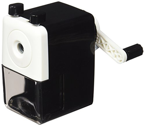 Dahle - Sacapuntas de escritorio (con manivela, lápices hasta 8 mm), color negro y blanco