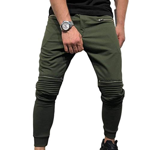 Capabes Track Pants Mens, Casual Trousers Nostalgic Hole Denim Multi-Zipper Pleated Long Pants, European and American Fitness Leisure Trousers XXL