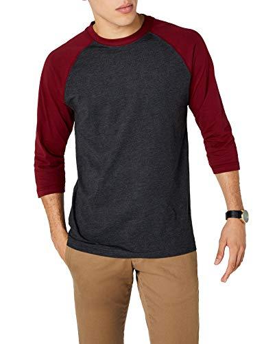 Urban Classics TB366 Herren 3/4 Sleeve Bekleidung T-Shirt, Mehrfarbig (Cha/Burgundy), L