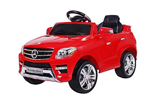 moleo Mercedes ML 350, Macchina Elettrica per Bambini, Auto elettrica, per Ragazzi e Ragazze, Attacco MP3, Controllo remoto del Veicolo, Giocattolo per Bambini con Licenza Mercedes (Red)