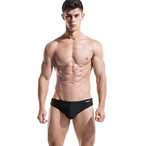 Lantra Besa Monocromo Uomo Pantaloni Slip da Bagno Swimwear Bottoms Briefs per Nuoto Estivo in Mare e Piscina (Tipo 15) - Nero (Dimensione Europea M)