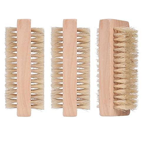 Cepillo Dedos de Doble Cara Cepillo Uñas Natural de Madera Uñas Mano Cepillo de Limpieza,Cepillo Madera para Uñas,para Uñas Cerdas Naturales Limpieza de Las Manos Juego Cerdas Naturales Madera,3PCS