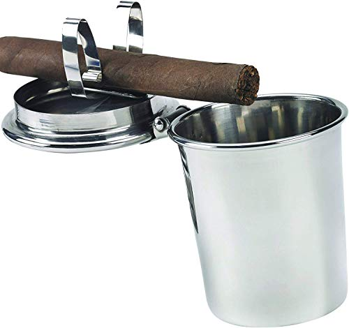 Stinky Cigar Car Ashtray, Spring Clip Holds All Cigar Sizes, Fits Any Standard Cup Holder, Stainless Steel