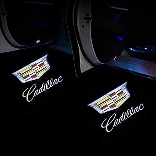 2Pcs Fit for cadillac door lights Wireless Car Door Led Welcome Laser Projector Logo Light,Ghost Shadow Light Lamp Logos for cadillac Accessories