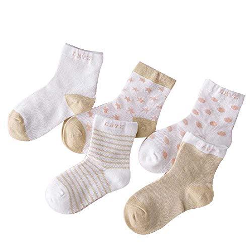 TUOLUO 5 Paar Socken Sommer Dünne Bequeme Atmungsaktive Baumwolle Baby Socken Kleinkind Mädchen Für 0~6 Jahre 7-9T / Elfenbein