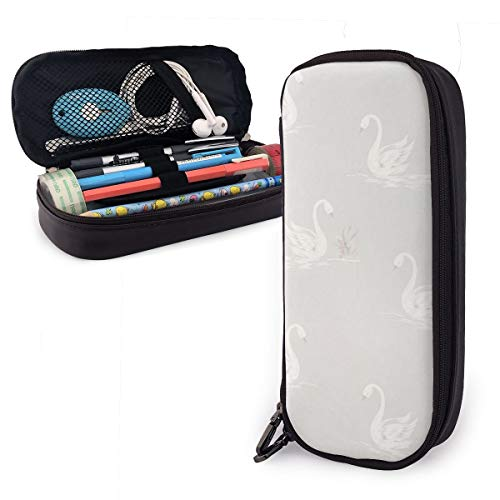 FJSLIE Retro Swans PU Leather Pouch Storage Bags Portable Student Pencil Office Stationery Bag Zipper Wallets Makeup Multi-Function Bag