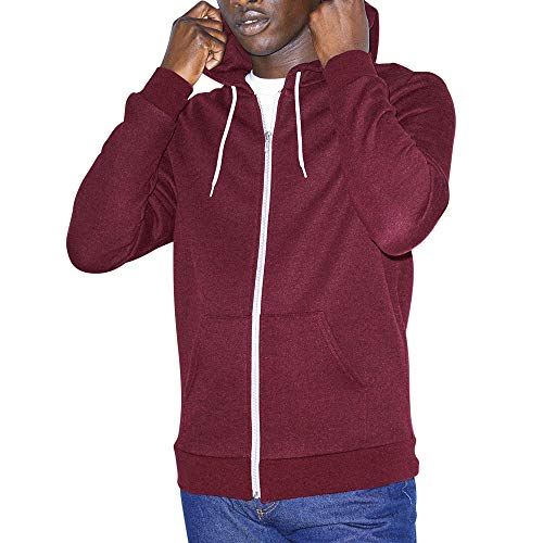 American Apparel Herren Fleece Long Sleeve Zip Hoodie Kapuzenpulli, Peppered Cranberry, Large