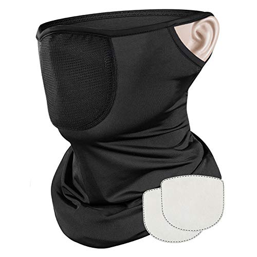 Evershop Reusable Face Covering with Filter for Men Women Balaclava Face Scarf Neck Gaiters Washable Bandanas with Dust/Wind/Sun Protection for Fishing Cycling Motorcycle Bike & Outdoor Sport Black