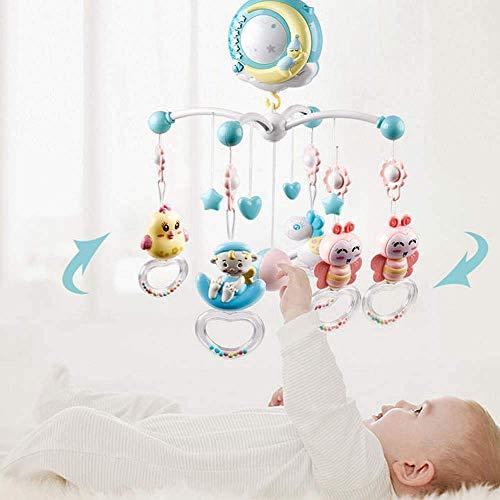 Cozyhoma Baby Musical Crib Mobile with Lights and Music, Stand, Remote Control Rotating Musical Crib with Projector, Hanging Rattles and Remote Control Music Box, Toy for Newborn