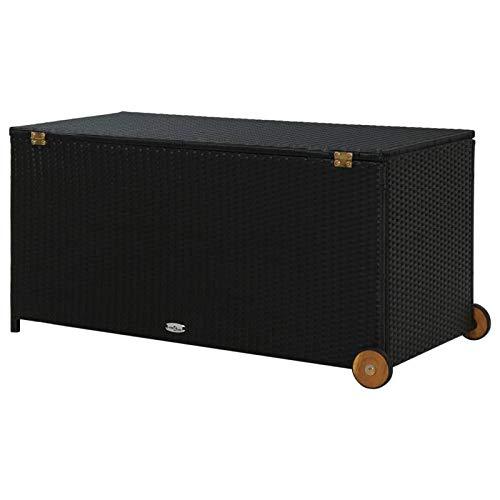 Tidyard Garten-Aufbewahrungsbox Auflagenbox Gartentruhe Kissenbox Gartenbox Kissentruhe Auflagenkiste Schwarz 130x65x115 cm Poly Rattan