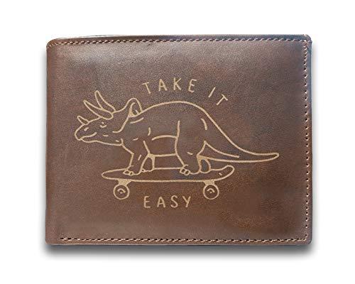 Take It Easy Triceratops Skateboard Dinosaurier, echtes Rindsleder, Laser-Gravur, schlankes Design, großes Fassungsvermögen, luxuriöses Portemonnaie mit 14 Fächern